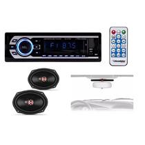 Kit Som Combo Auto Rádio Roadstar + Par 6x9 100w Rm + Antena