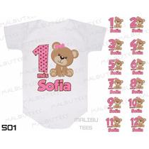 Kit 12 Body Mesversario Ursinha Ursa Rosa Personalize Nome