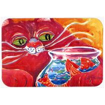 Gato Grande Rojo En La Tarjeta De Corte De Pecera De Cristal
