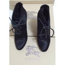 Sapato Bota Feminina / Burberry Preta Italiana 100% Original