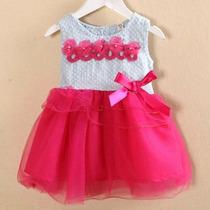 Vestido De Fiesta Flores Con Tul Bebe Niña 1 2 Años Nuevo
