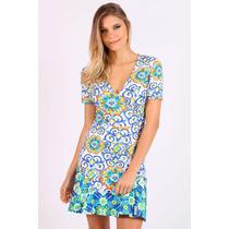 Vestido Curto Azulejo Floral Colcci