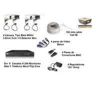 Combo Kit Dvr 8ch 4 Cámaras Bala Cable Fuente Video B Conect