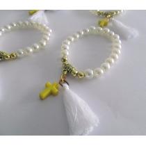 10 Pulseras Perlas Souvenirs Comunion Cumpleaños 15 Bautismo