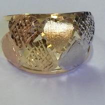 Ngold Anel Coração Tricolor 3 Cores Fosco Diamantado 18k 750