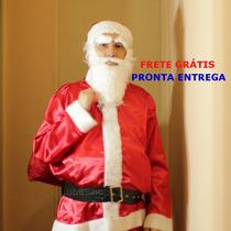 Roupa De Papai Noel Cetim Frete Grátis Extra Grande G1