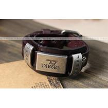 Pulseras Diesel, Cuero Detalles Metal Pasadores