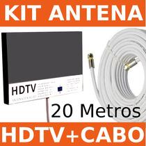 Kit Antena Tv Digital Hdtv Uhf 15 Dbi Externa Box +20m Cabo