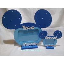 Portarretrato Souvenir Mickey,minnie Central Nombre Y Frase.