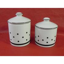Kit Higiene Porcelana Banheiro Poa Porta Algodão Cotonete