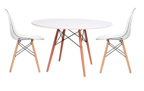 Juego comedor eames 80 4 sillas transparente mueble for Sillas transparentes comedor