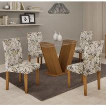 Conjunto Mesa De Jantar Com 4 Cadeiras Classic Castanho - Ce