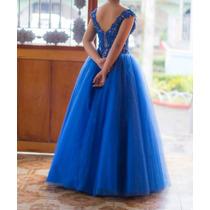 Vestido De Xv Años, Azul Rey Con Tirantes