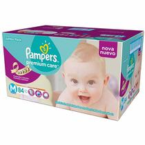 Fralda Pampers Premium Care M Descartável Kit 84 Unidades
