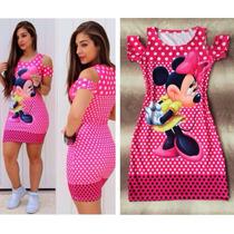 Vestido Personagens Minnie Mickey Pato Donalds Loney Tunes..