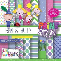 29 Itens Kit Digital Editavel Scrapbook Ben E Holly Arte
