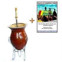 T6 Kit Cuia De Chimarrão Porongo + Bomba+ Tripé+manual