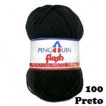 Fio Lã Para Tricô Pingouin Flash 100g Preto Kit C/10