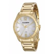 Relógio Mondaine Feminino Dourado Com Pingente Lindo