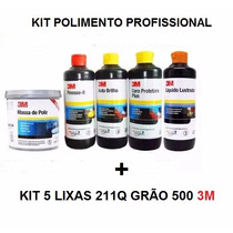 Kit Polimento 3m Massa Polidor Lustrador Auto Brilho 3m