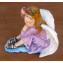 Figura De Angel De Yeso Coloreada Medidas 27x18 Cms. Alt. 25