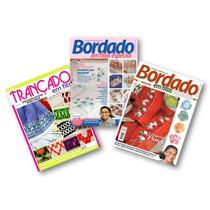 Lote De 3 Revistas Bordados E Trançado Em Fitas - Artesanato