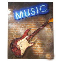 Enfeite Guitarra Music On The Wall De Metal S/frete