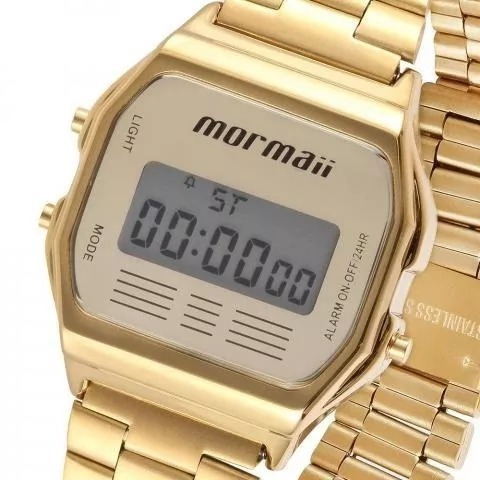 bc63809e63f14 Relógio Mormaii Unisex Vintage Mojh02ab 4d Digital Dourado - R  198 ...
