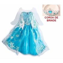Fantasia / Vestido Elsa Frozen Luxo Pronta Entrega