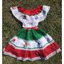 Disfraz Mexicana Bordado Algodon 6 Años