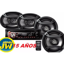 Combo Stereo Pioneer 1950 /1850 Usb + 4 Parlantes Pioneer