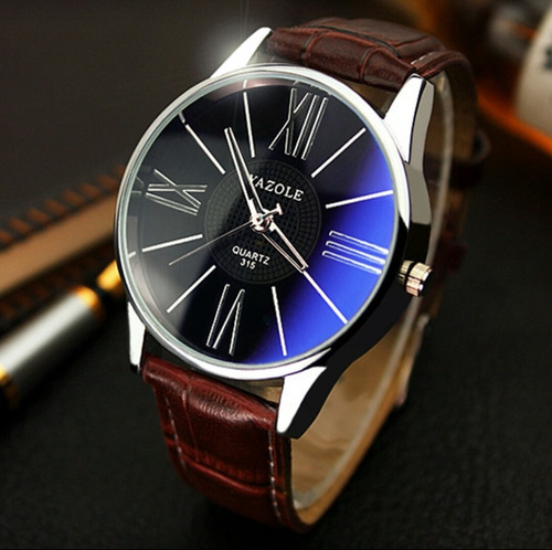 61d185c0c7e Relógio Masculino Yazole Pulseira Em Couro - R  30