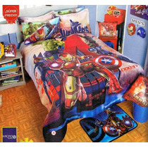 Vengadores Edredon Ind Cojin Colcha Ninos 6pc Hulk Iron Man