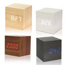 Reloj Desperador Temperatura Digital Cuadrado Madera