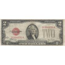 Billete Antiguo 2 Dolares 1928 Sello Rojo Estados Unidos