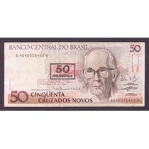Brasil, Billete 50 Cruzeiros Resellado De 1990