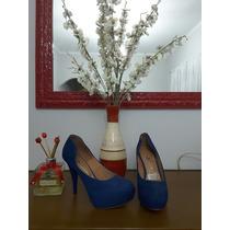 Sapato Salto Alto Vizzano N37 Azul Escuro Plataforma Lindo