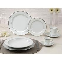 Jogo Jantar Chá E Café 42 Pçs Porcelana Schmidt Renda Branca