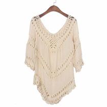Blusa Bata Trabalhada Com Crochê-maravilhosa-verão