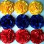 Tres Flores De Tela Estilo Rosas. Bandera De Venezuela