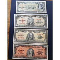 Juego De 4 Billetes Cubanos En Alta Condición