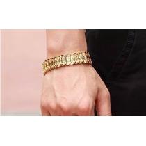 Pulseira Bracelete Masculino Dourado Banhado A Ouro 18k Nova