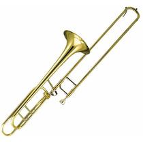 Trombon De Vara Ocean Osc151 Laqueado Dorado Con Estuche