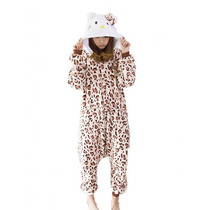 Pijama Disfraz Kigurumi Hello Kitty Leopardo Polar Adultos