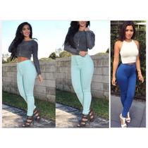 Pantalones De Dama Altos A Cintura De Moda 2016 Skinny Drill