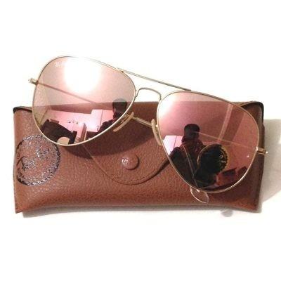 Óculos Ray Ban Aviador Rosa Feminino Original + Proteção Uv - R  138,99 em Mercado  Livre d6c1eb474a