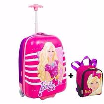 Kit Mala Infantil Mochila Rodinhas Barbie Girls + Lancheira