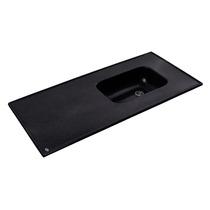 Mesada Marmol Sintetico 140 X 60cm Negro Con Bacha Integrada