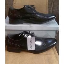 Zapatos Vestir Ponty Talla 40 Y 42 Negro Caballero