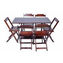 Conjunto De Mesa 120x70 E 6 Cadeiras Dobráveis Bar